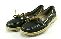 Sperry Top Sider Angelfish $90 Women's Boat Shoes Size 8 Black Leather