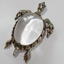 VINTAGE TRIFARI STERLING SILVER RHINESTONE LUCITE JELLY BELLY TURTLE BROOCH
