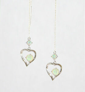 """""""IAJ"""" LAB CREATED DOUBLE WHITE FIRE OPAL HEARTS STERLING SILVER Threads Threader"""