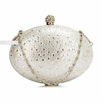 Ivory Diamante Wedding Ladies Party Prom Evening Clutch Hand Bag Purse Hard Case