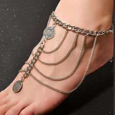 Exaggerated Coin Tassels Chain Anklet With Toe Ring One Size Slave
