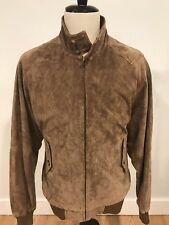 Orvis Mens Brown Suede Leather Bomber Harrington Jacket Tartan Lining Size XL