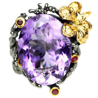 NATURAL PURPLE AMETHYST & RED RUBY STERLING 925 SILVER 2-TONE FLOWER RING SIZE 6