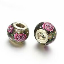 2Pcs Brass Cores Flower Painted Glass European Large Hole Rondelle Beads 14x11mm