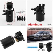 3-Port Compact Aluminum Baffled Oil Catch Can Tank Air-Oil Separator Kit Black