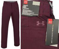 Under Armour UA Threadborne Tour Golf Trousers - Raisin Red - Straight Leg