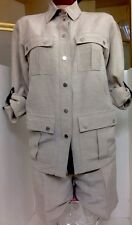 Michael Kors Shortset Safari  Kaki Linen Blend Leather Trim Size 2/4