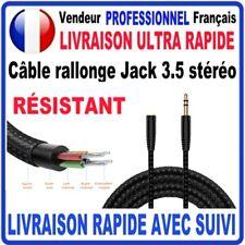 Câble rallonge audio JACK 3.5 mâle vers femelle Stéréo NYLON TRESSÉ RÉSISTANT