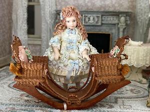 Vintage Miniature Dollhouse Tillie Memmer Victorian Child Doll Wicker Seesaw