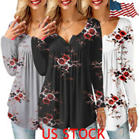Women Floral Printed Tops Long Sleeve Pleated T-shirt Casual V-neck Loose Blouse