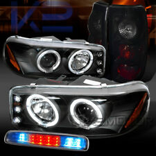 99-03 GMC Sierra Projector Headlights+Clear LED 3rd Brake+Glossy Black Tail Lamp