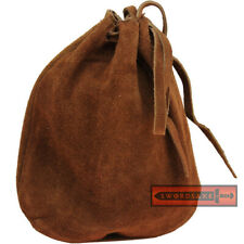 Medieval Coin Purse Brown Suede Leather Belt Pouch Renaissance Drawstring Bag