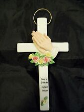 CERAMIC WALL HANGING CROSS GLORY TO GOD IN THE HIGHEST LUKE 2:14 PRAYING HANDS
