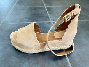 Brand new Chloe Lauren Espadrille Sandals in Beige suede kidskin