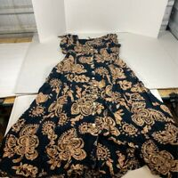 Tangibles Womens A Line Dress Black Floral Buttons Self Tie Cap Sleeve Scoop XL