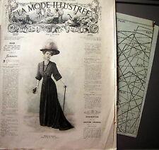 LA MODE ILLUSTREE + PATRON,  n° 4/1908 Voir modèles à réaliser, FRENCH PATTERN