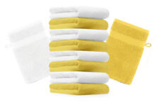 """10er Pack Waschhandschuhe """"Premium"""" Farbe: Gelb & Weiß, Größe: 17x21 cm"""
