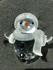 Swarovski Crystal Snowman 7475 000 605 Retired & Vial of Crystals in Box, Mib