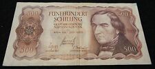 1965 National Bank of Austria 500 Schilling Note in VG Condition Nice OLD Note!