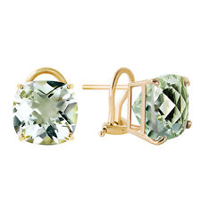 7.2 Carat 14K Solid Gold French Clips Earrings Green Amethyst