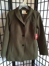 Faded Glory Size Large 12-14 Olive Faux Wool Button Front Outerwear Coat NWT