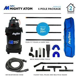 SkyVac Mighty Atom Wet & Dry Gutter Cleaning Vacuum - 6 metres (20 feet) Reach
