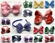 "3"" & 5"" Gingham School Alice Bands Headbands, Bow Hair Clips & Elastic Bobbles"