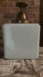 ANTIQUE LARGE ART DECO OPALINE GLASS CUBED CEILING LIGHT SHADE & BRASS GALLERY
