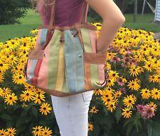 Large Fossil Multi-Color Striped LEATHER Bag Shoulder Purse Satchel