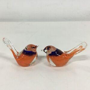 Pair of Eamonn Vereker Australia Glass Orange and Blue Lovebird Ornaments #403