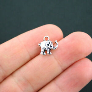12 Tiny Elephant Charms Antique Silver Tone 2 Sided - SC2846