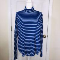 Michael Kors Woman's Long Sleeve Blue & White Stripes Turtle Neck Top Shirt