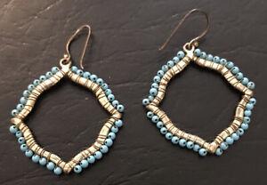 Vintage Hook Earrings - Dangle Round Beaded Wire Beads Blue Rhinestones Disco