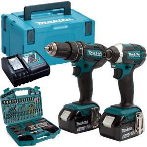 Makita DLX2131TJ 18V LI-ion Twin Kit 2 x 5.0Ah Batteries + 101 Piece Drill Set