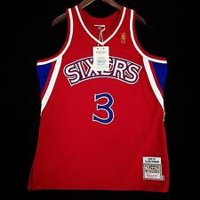 100% Authentic Mitchell & Ness Allen Iverson Sixers Red NBA Jersey Size 48 XL