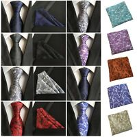 Men Flower Paisley Tie Jacquard Woven Necktie Pocket Square Handkerchief HZ0190