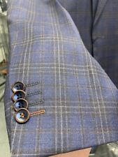 New 42L Men's Blue Vest Check Suit 100% Wool Super 150 Made in Italy Ret/$1295