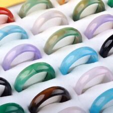 30pcs Wholesale Lots Colorful Mix Natural Agate Band Gemstone Jade Rings Jewelry