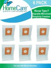 6 Riccar Type F Supralite Microlined Simplicity Freedom Vacuum Bags by Home Care