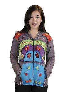 Multicolored  Stone Wash Cotton Cardigan With Flower embroidery & Hood Attached