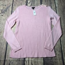 Talbots Women's Petite Pink Button Crew Long Sleeve Sweater New