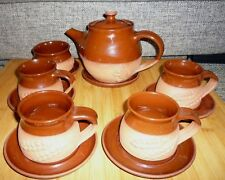 Moy Pottery Tea Set for 4 Tea-pot Sugar Bowl Cups & Saucers Wheat & Mouse Design