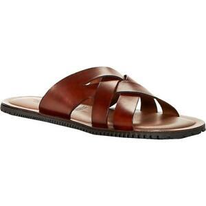 The Men's Store Mens Leather Slides Open Toe Flat Sandals Shoes BHFO 4546