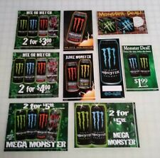 Original Monster Energy Drink Cooler Stickers Lot 2008 (9 Different Stickers)