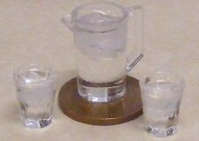 1:12 Scale Plastic Jug & 2 Glasses Of Water Dolls House Kitchen Drink Accessory