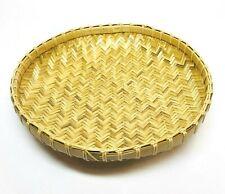 "1/3/6 PCS 10"" Round Shallow Bamboo Display Winnowing Basket Tray Thai Decor"