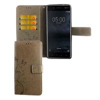 Nokia 5.1 Étui Coque Téléphone Portable Protection Sac à Clapet Housse de , Gris