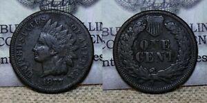 1877 Indian Head Cent 1c VG Details Environmental Damage Key Date !!
