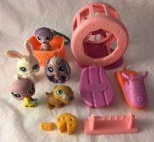 Lot of 4 Littlest Pet Shop LPS Figures w/ Accessories - Rabbit, Hamster, Bird