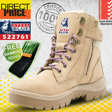 Steel Blue Ladies Work Boots 522761 Sand Southern Cross Zip Nitrile Outsole NEW